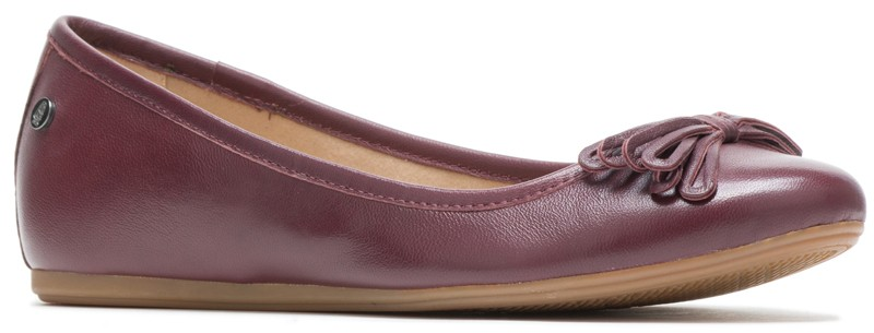 Heather Bow Ballet - Dark Wine Leather