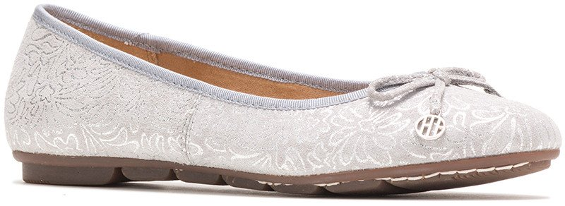 Abby Bow Ballet - Silver Metallic Print Leather