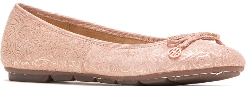 Abby Bow Ballet - Pale Peach Metallic Print Leather